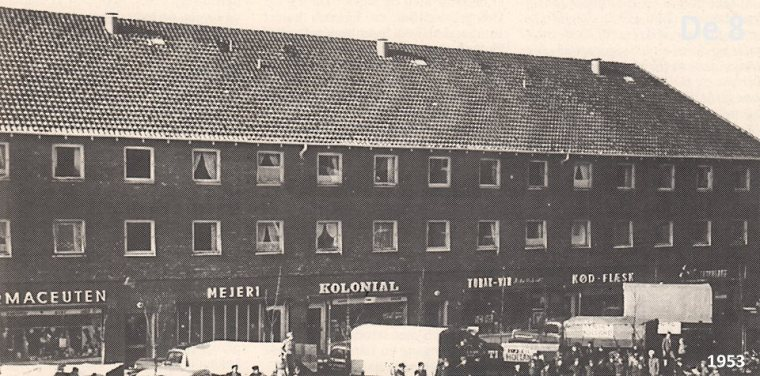 De otte forretninger på Herlev hovedgade 147-153 fra 1950