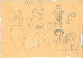 Tegning af børn og babyer og en bamse, saks og papir til min far