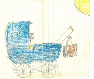 Blå barnevogn ca 1956-57