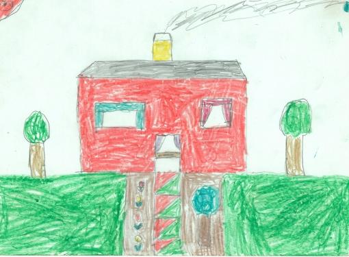Huset uden børn med farvede fliser. Min far støbte store trekantede fliser i grøn og rød bag om huset