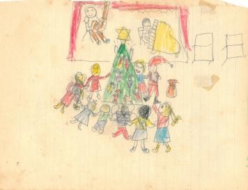 Julemotiv med familie og sang om juletræet