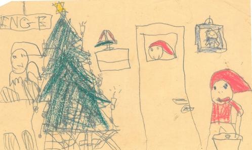 Et julemotiv. En nisse kigger ind af et vindue i døren. (Vores børneværelse havde et vindue)