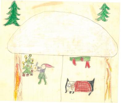 Julemotiv med nisser i et nissebo