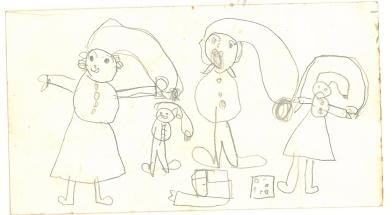 Julemotiv med nissefamilie