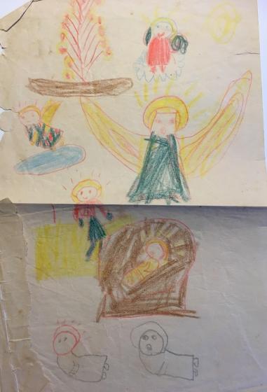 En tegning af engle og krybben