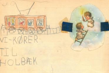 Min tegning af togturen til Holbæk ca 1956-57