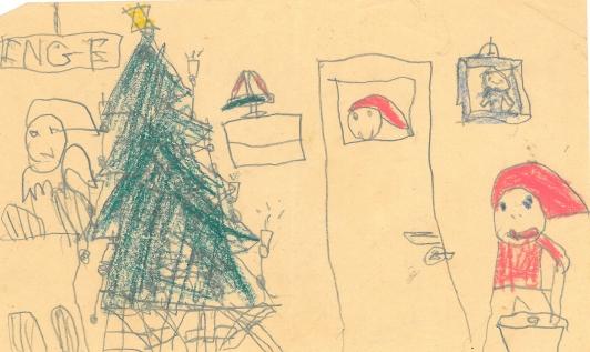 En nisse kigger ind på juletræet